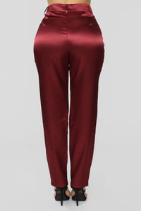 Seal The Deal Satin Suit Set - Burgundy