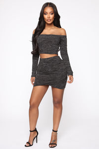 Owen Off Shoulder Skirt Set - Black Angle 1