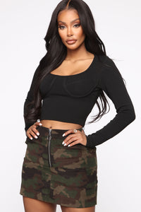 Just Another Night Out Cropped Sweater - Black