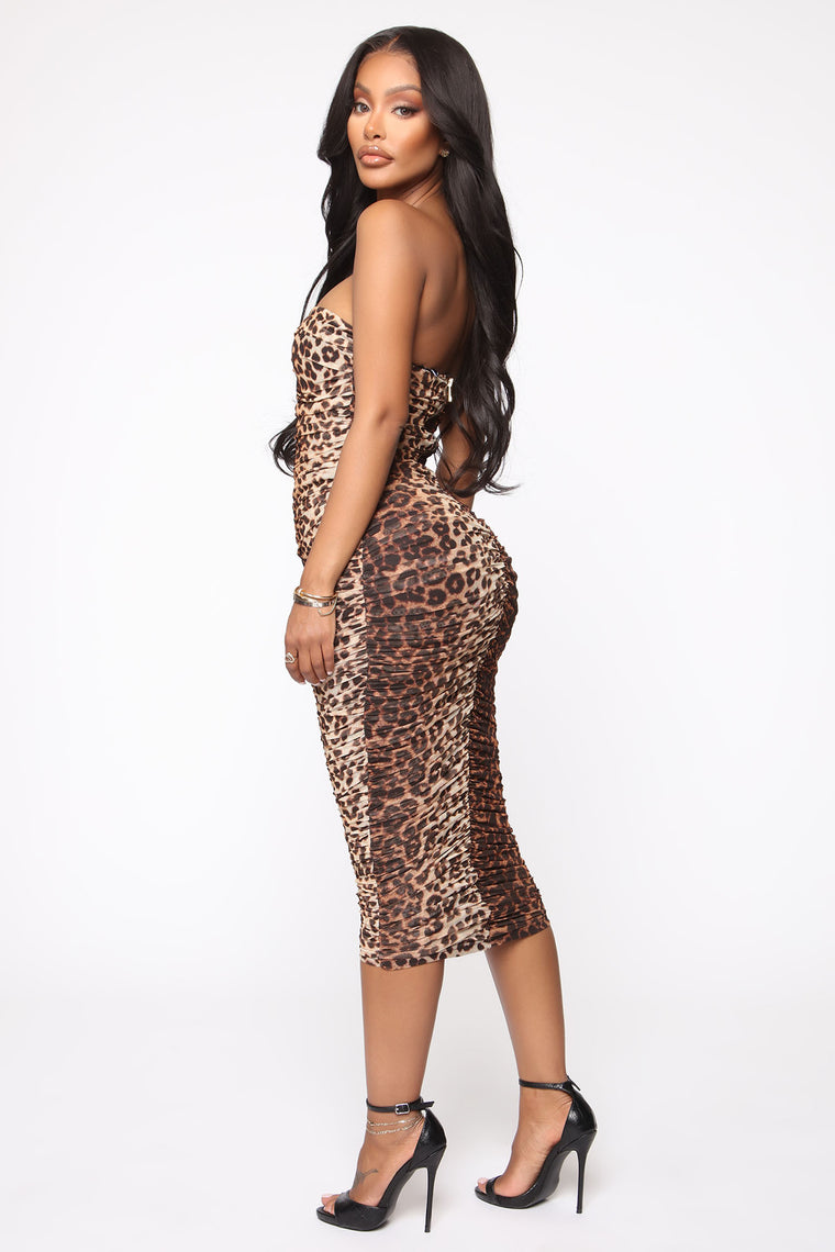 Out To Get You Ruched Midi Dress - Black/Brown