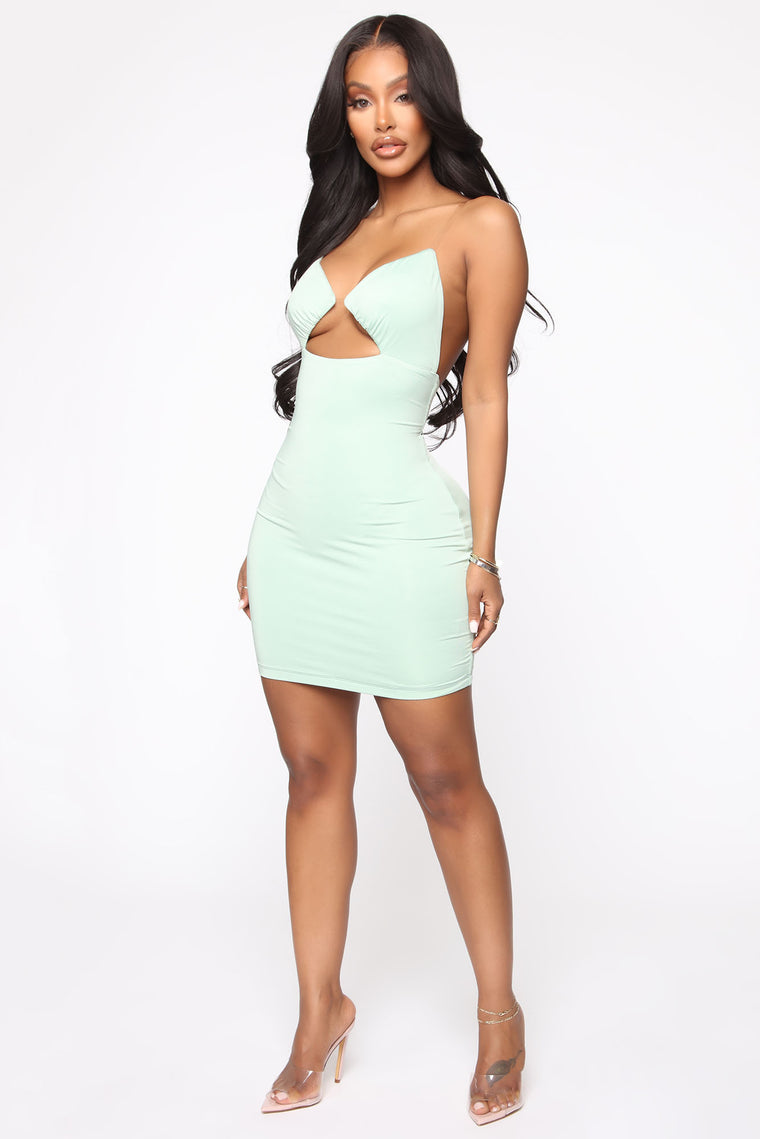 To Be Clear Mini Dress - Sage