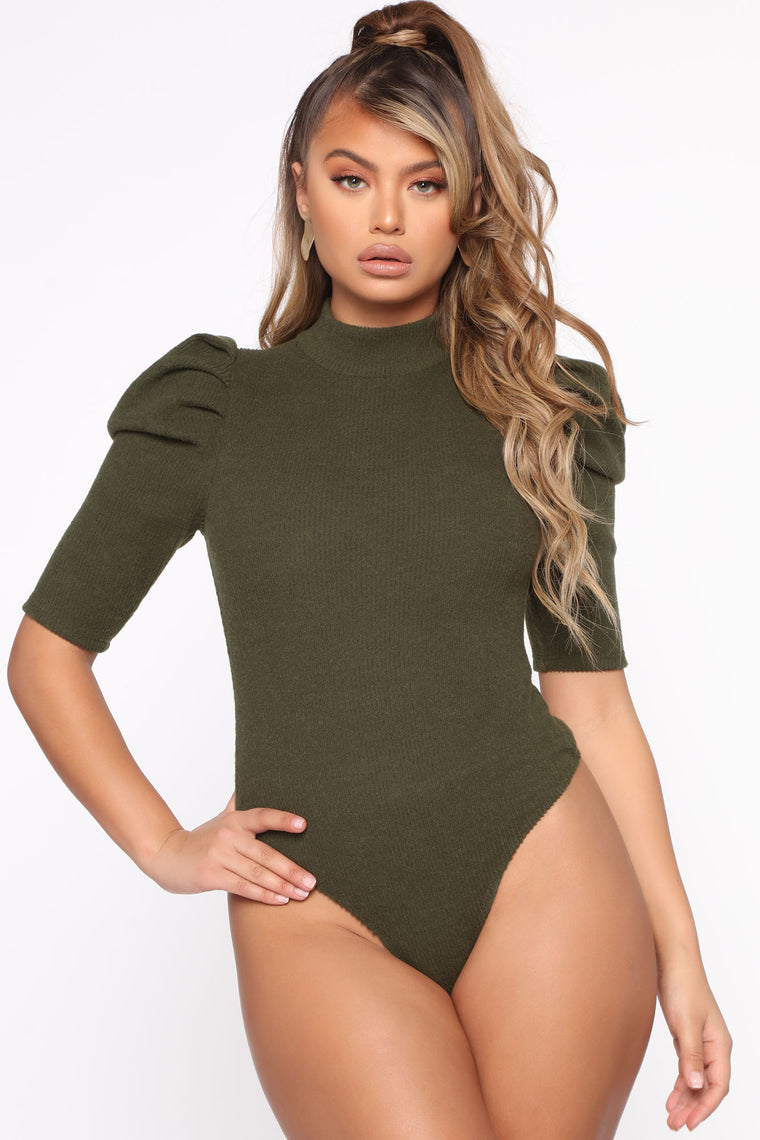 Amerie Puff Sleeve Bodysuit - Olive