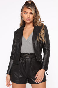 Tell Me No Lies PU Leather Jacket - Black Angle 1