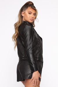 Tell Me No Lies PU Leather Jacket - Black Angle 4