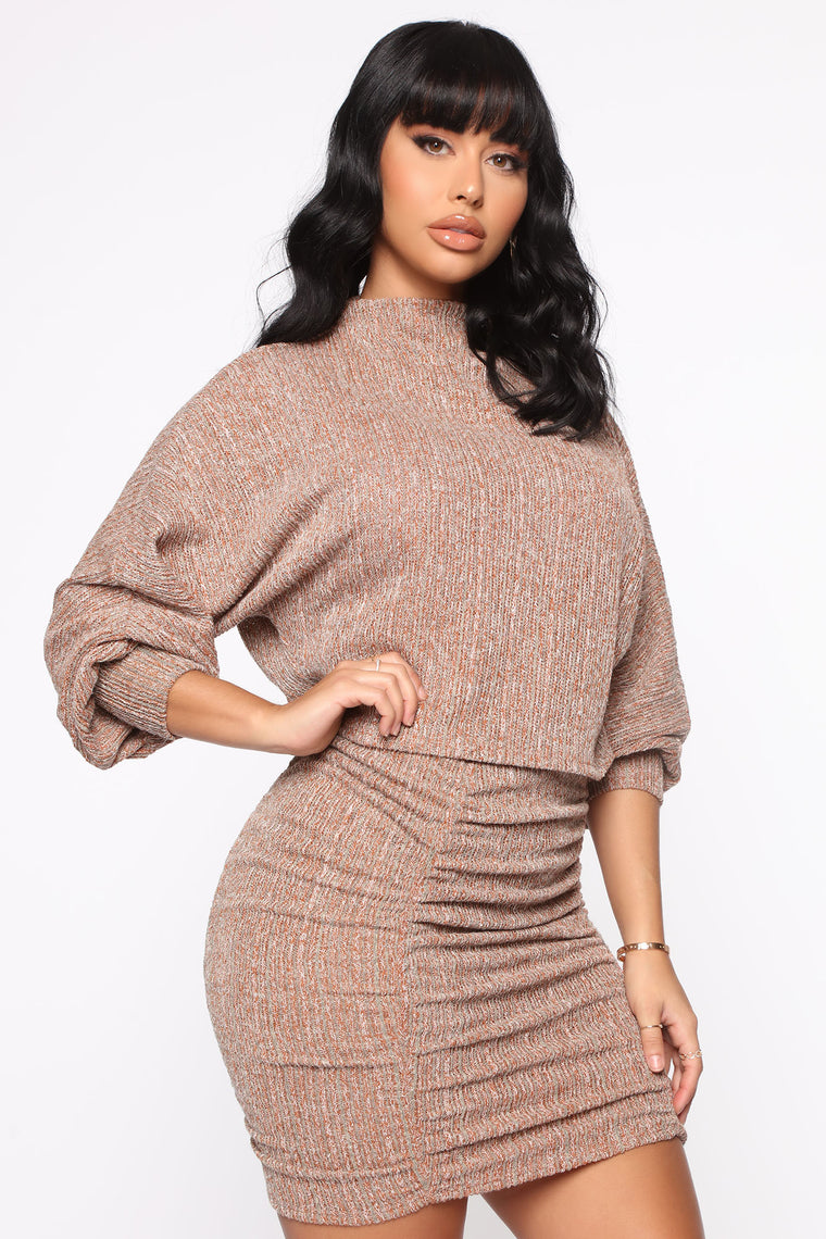 Knit My Type Sweater Set - Camel