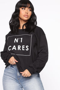 No One Cares Crew Sweatshirt - Black