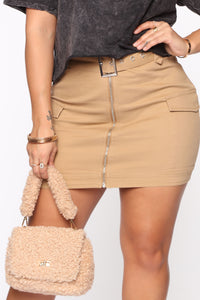 Army Brat Cargo Mini Skirt - Tan Angle 1