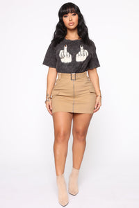 Army Brat Cargo Mini Skirt - Tan Angle 2