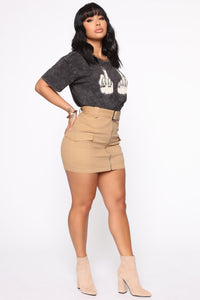 Army Brat Cargo Mini Skirt - Tan Angle 4
