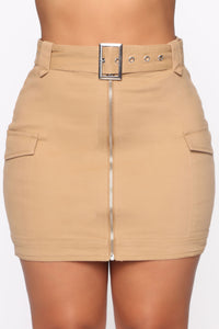 Army Brat Cargo Mini Skirt - Tan Angle 3