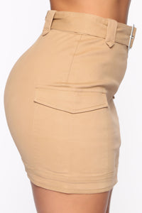 Army Brat Cargo Mini Skirt - Tan Angle 5