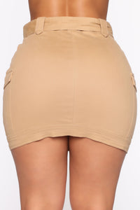 Army Brat Cargo Mini Skirt - Tan Angle 7