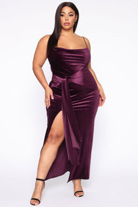 My Greatest Weakness Velvet Maxi Dress - Purple