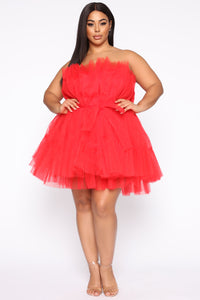 Exclusive Tulle Mini Dress - Red Angle 6