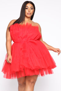 Exclusive Tulle Mini Dress - Red Angle 5