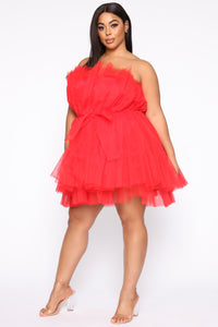 Exclusive Tulle Mini Dress - Red Angle 7