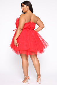 Exclusive Tulle Mini Dress - Red Angle 8