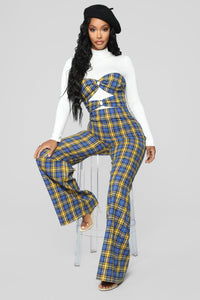 Don't Cross The Line Plaid Jumpsuit - Yellow/Combo
