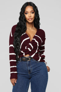 Falls Favorite Stripe Sweater - Wine/Combo