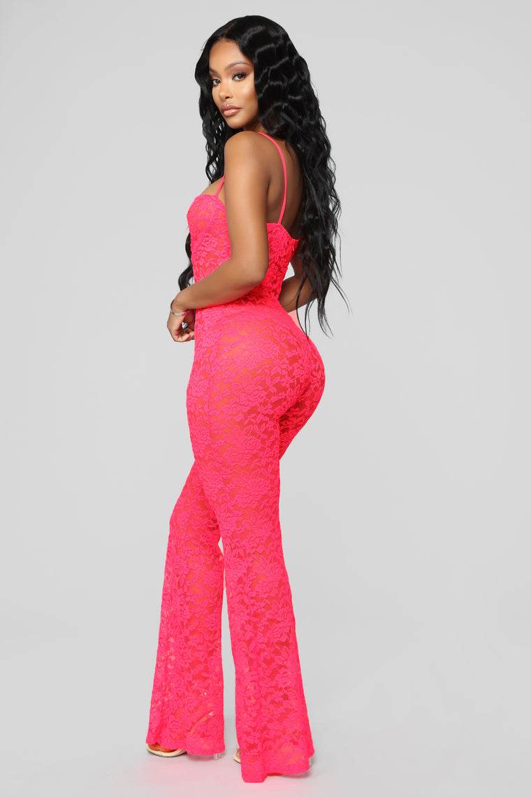 3be2538132e6 In The Spotlight Lace Jumpsuit - Neon Pink