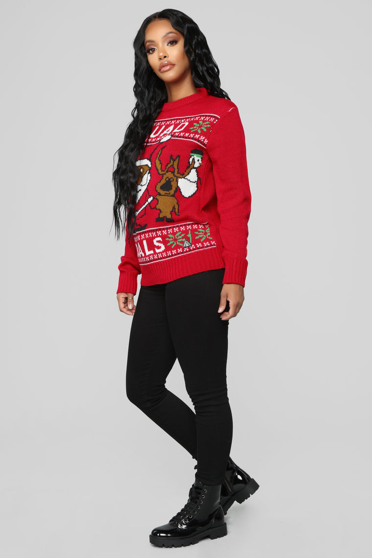 Squad Goals Christmas Sweater - Red