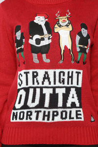 Outta North Pole Christmas Sweater - Red