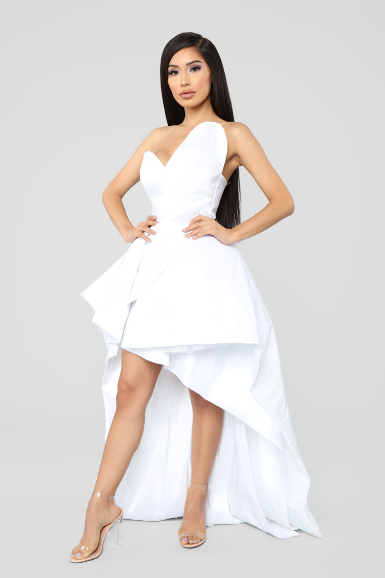 High Klass High Low Gown - White