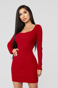 Laced With Grace Lace Up Dress - Red Angle 1