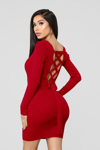 Laced With Grace Lace Up Dress - Red Angle 3