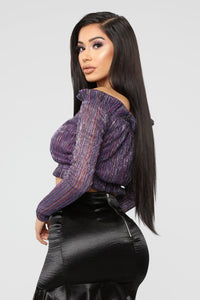 Keep It Straight Crop Top - Purple