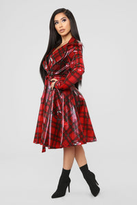 Keep It Undercover Trench Coat - Red Angle 4