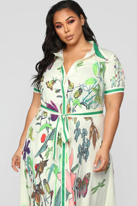 Time For Change Butterfly Shirt Dress - White/Multi Angle 6