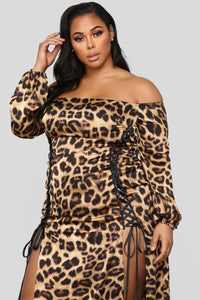 The Animal Within Off Shoulder Dress - Brown Angle 7