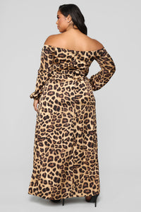 The Animal Within Off Shoulder Dress - Brown Angle 9