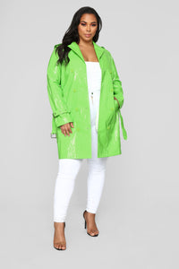 Glow Girl Trench Coat - Lime Angle 5