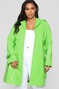 Glow Girl Trench Coat - Lime Angle 6