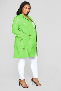 Glow Girl Trench Coat - Lime Angle 7