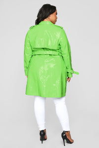 Glow Girl Trench Coat - Lime Angle 8
