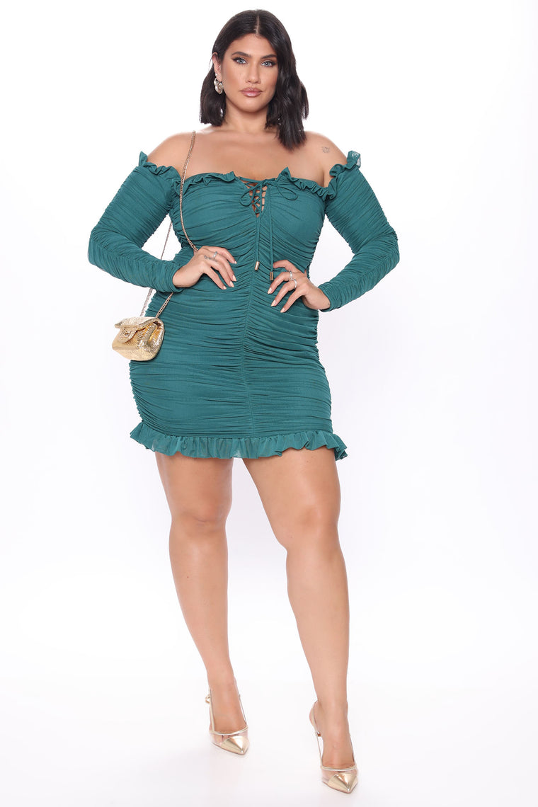 Sleeve It To Me Ruched Mini Dress - Teal