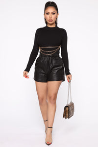 Don't Pull My Chains Cropped Sweater - Black Angle 2