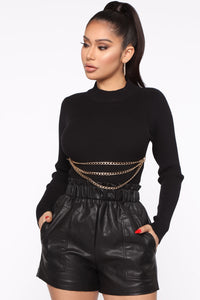 Don't Pull My Chains Cropped Sweater - Black Angle 1