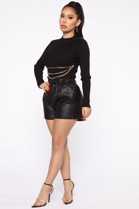 Don't Pull My Chains Cropped Sweater - Black Angle 4