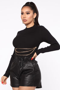Don't Pull My Chains Cropped Sweater - Black Angle 3