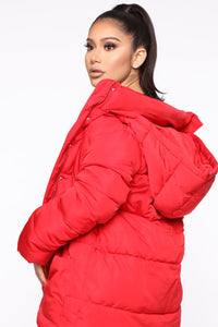 No Problems Here Puffer Jacket - Red