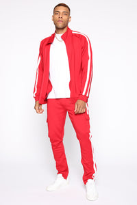 Post Cargo Track Pants - Red/Combo Angle 1