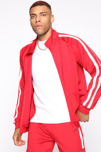 Post Track Jacket - Red/Combo Angle 1