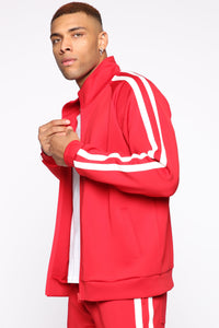 Post Track Jacket - Red/Combo Angle 4