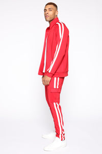 Post Cargo Track Pants - Red/Combo Angle 4