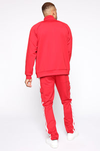 Post Cargo Track Pants - Red/Combo Angle 6