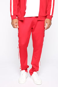 Post Cargo Track Pants - Red/Combo Angle 2